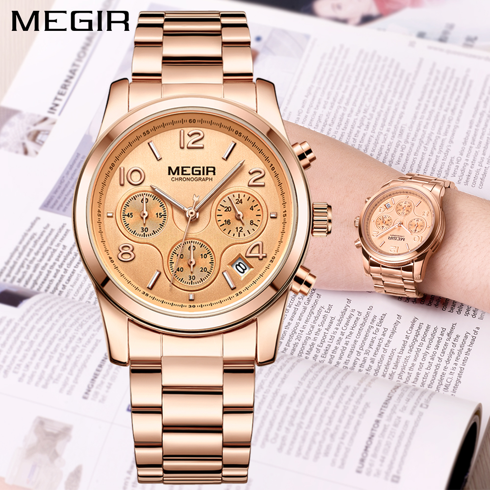 2018 MEGIR Luxury Brand Ladies Watch Women Rose Gold Steel Chronograph Quartz Sport Wrist Watches Clock Women Relogios Femininos