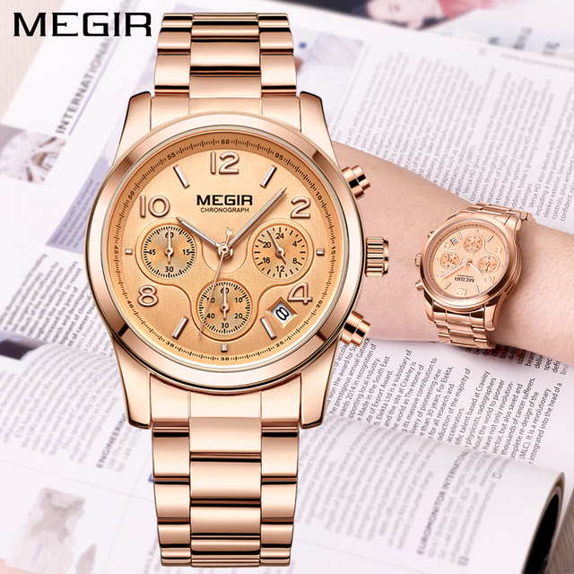 c3a1b5c238d 2018 MEGIR Luxury Brand Ladies Watch Women Rose Gold Steel Chronograph  Quartz Sport Wrist watches Clock Women relogios femininos