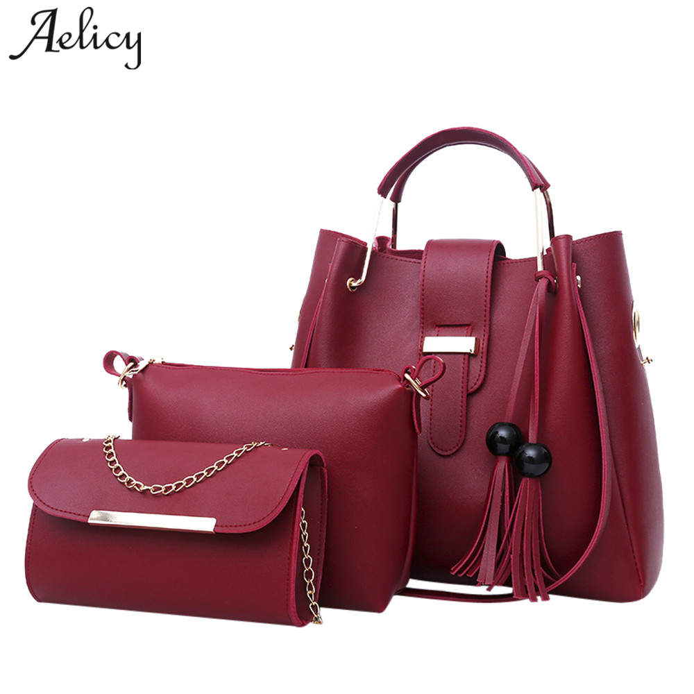 Aelicy 2018 Women 3Pcs/Set Handbags PU Leather Shoulder Bags Casual Tote Bag Tassel Metal Handle Designer Composite Bags metal ring pu leather tote bag