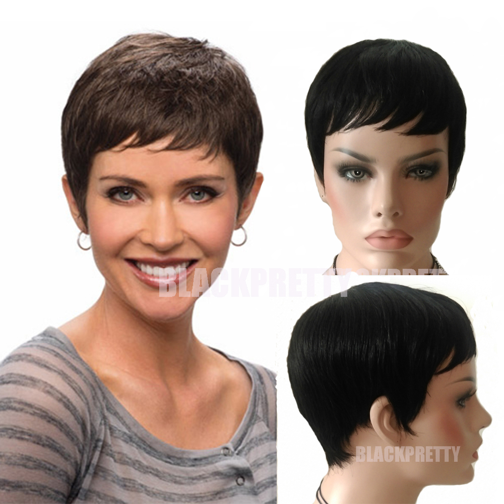 Cheap Short Brazilian Hair Human Wig Pixie Cut Short Full Lace Wig African  American Very Short Lace front Wig For Black Women adcdac14e