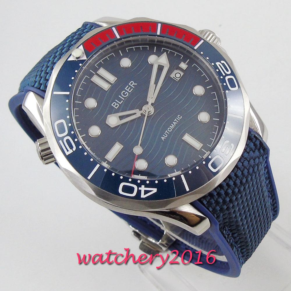 BLIGER แบรนด์หรูนาฬิกาผู้ชาย Analog นาฬิกาแฟชั่นอัตโนมัตินาฬิกาข้อมือ Blue Dial วันที่เซรามิค Bezel ชายนาฬิกา Reloj Hombre-ใน นาฬิกาข้อมือกลไก จาก นาฬิกาข้อมือ บน title=