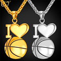 U7 I Love Basketball Necklace Gold Plated 316L Stainless Steel Chain & Pendant For Men/Women Hot Sport Fashion Jewelry P910