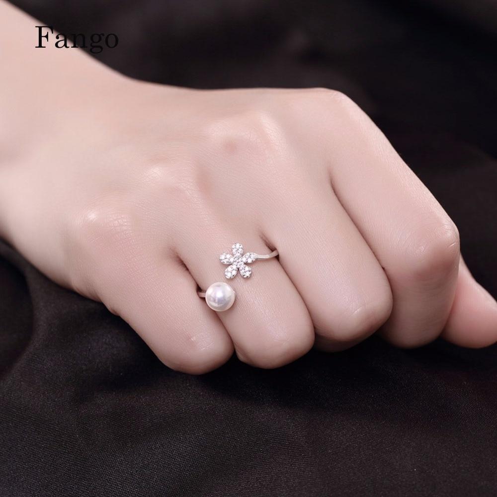 Fango Brand Wedding White Pearl Ring Fashion Vintage Flower Zircon ...