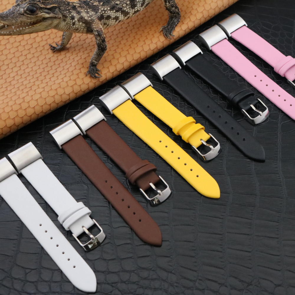 2018 watch strap classic leather wristband with metal connectors for fitbit charge 2 correas de