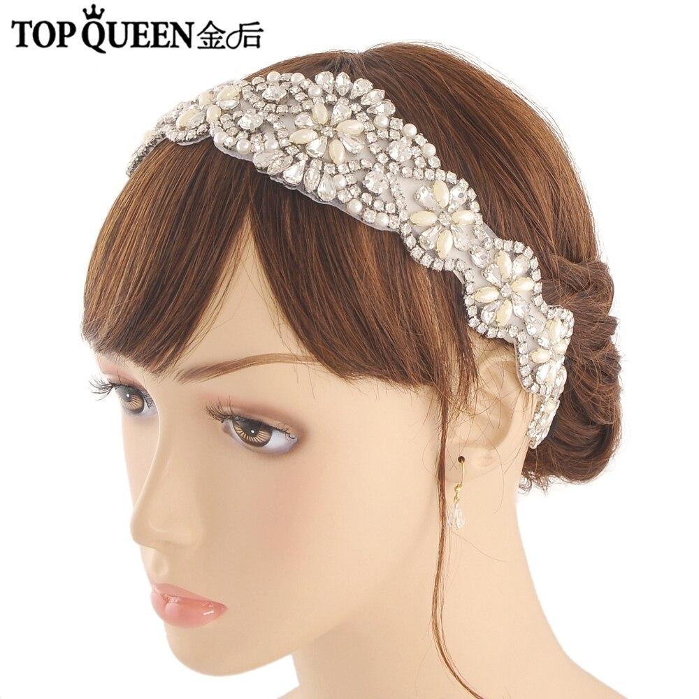 TOPQUEEN H161 Handmade Wedding Headband For Bridal Rhinestone Tiaras Hair Accessories Elegant Headpiece Women Hair Jewelry