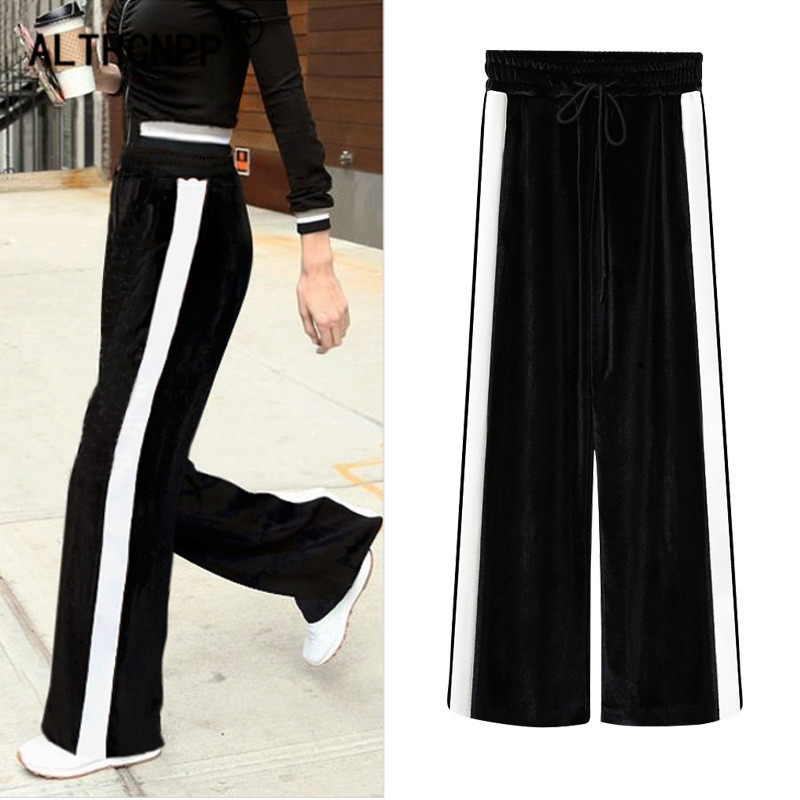 Plus Size Women Winter   Pants   Sweatpants New Korean Fashion Gold Velvet Loose   Wide     Leg     Pants   Casual Striped   Pants   Women Trousers