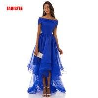 New arrival elegant long dress prom party dresses high low boat neck formal dress organza simple blue dress