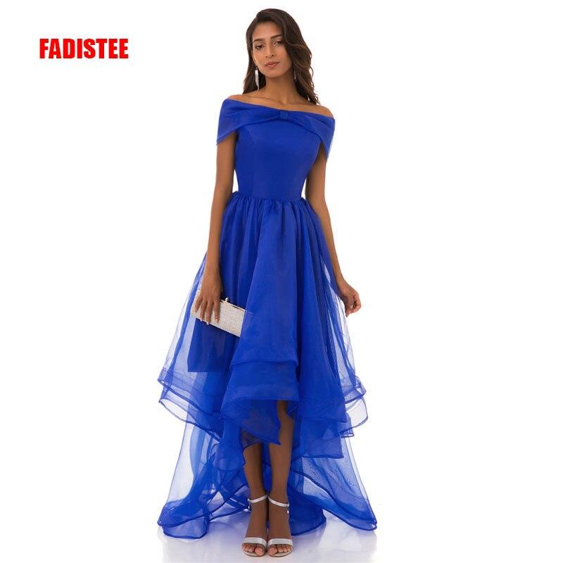 Nouvelle arrivée élégante longue robe de bal robes de soirée haute-bas col bateau robe formelle organza simple robe bleue