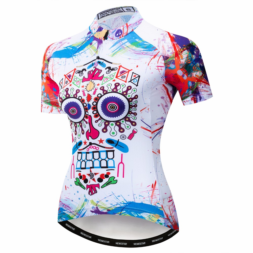 e0060da7e 2019 Outdoor Cycling Jersey women Bike Jerseys road MTB bicycle shirts  Short Sleeve sportswear maillot Racing top White Skull