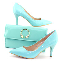 New Arrival Aqua green Italian Shoes with Matching Bags Set Decorated Women Shoes and Bags To Match Set Italy Party Shoes
