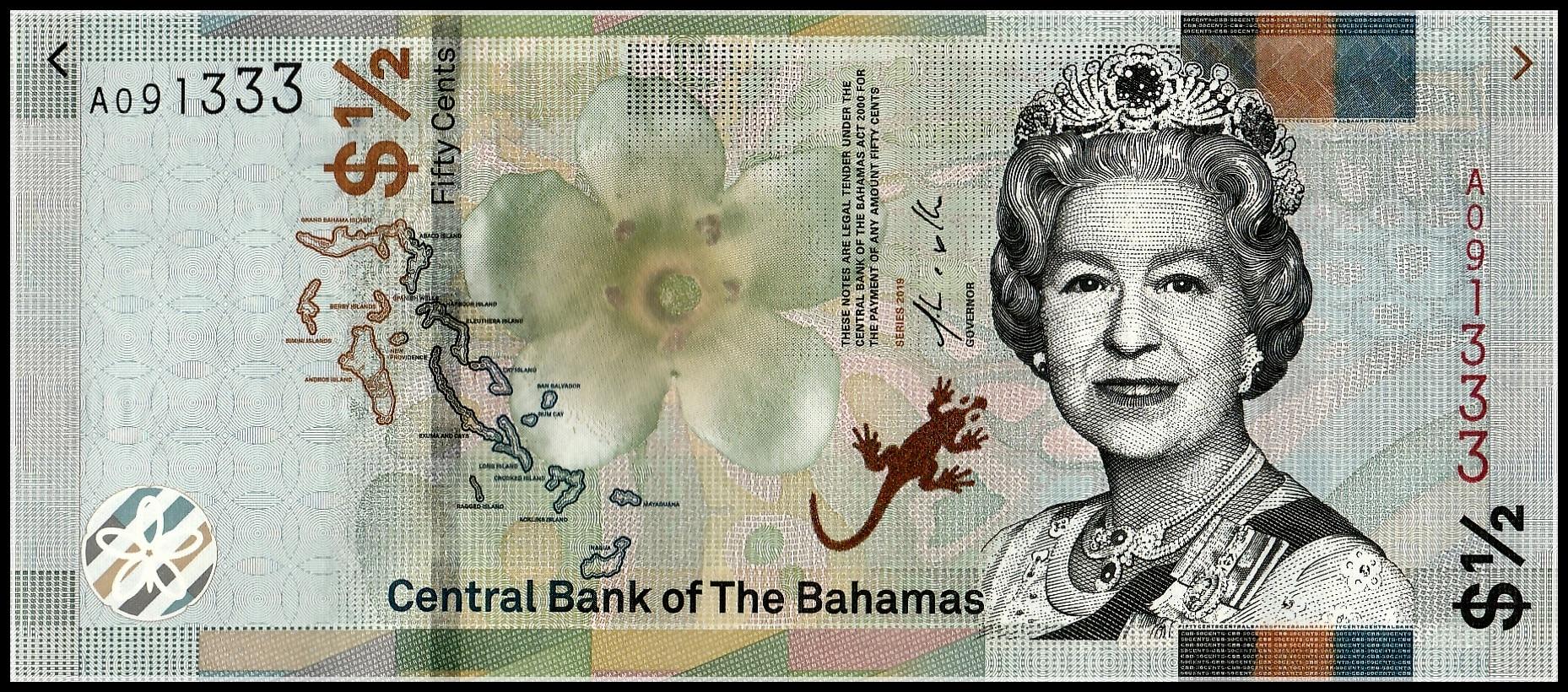 P-71 2008 Unc Good Bahamas 1 Dollar Real Foto
