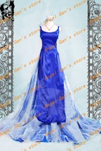Бесплатная доставка На Заказ высокого qualtity Серенити сейлор мун Tenoh Харука синий платье принцессы косплей костюм