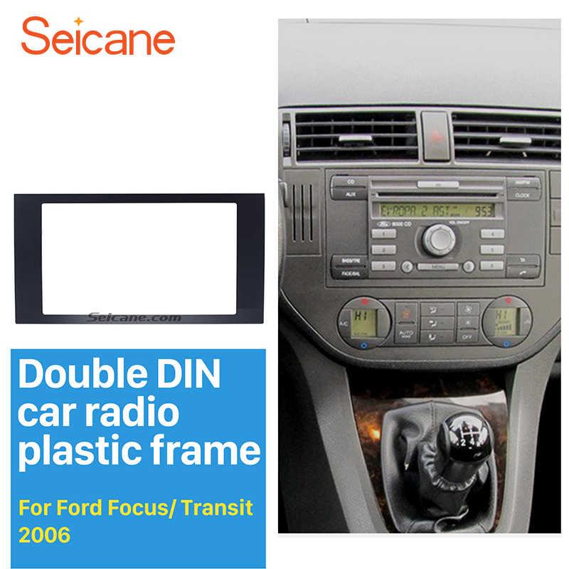 Seicane Elegan 2 DIN Mobil Radio Fasia Trim Kit untuk 2006 Ford Fokus Transit Fitting Bingkai Dash Mount Pemutar DVD mobil Stereo Radio