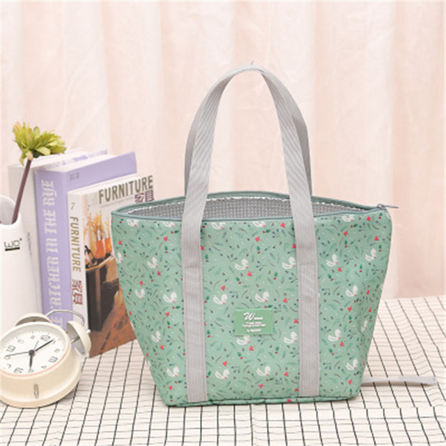 4 Colors Foldable Portable Lunch Bag Large Capacity Small Size Picnic Beach Bag School Use Insulation Bag Cooler Warmer Bag
