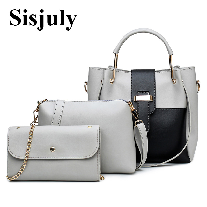 8ce5eee7f7e1 Sisjuly PatchWork Handbag Women Bags Designer 3pcs Sets Large Capacity  Female Shoulder Bags Leather Handbag And