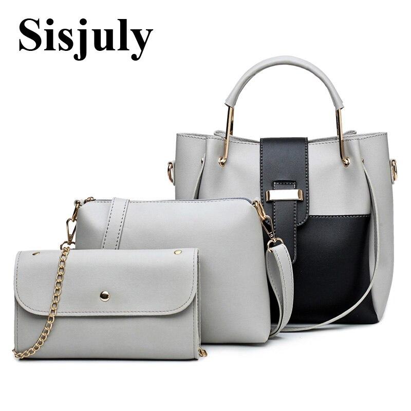 Sisjuly PatchWork Handbag Women Bags Designer 3pcs Sets Large Capacity Female Shoulder Bags Leather Handbag And Purse sisjuly white xxl