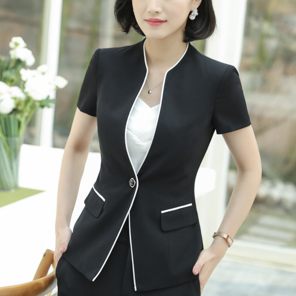 2018 Tradition OL Classic Short Sleeve Sale Correct Dress Work Suit Jacket Blazer Feminino Office Uniform Style Designs Women