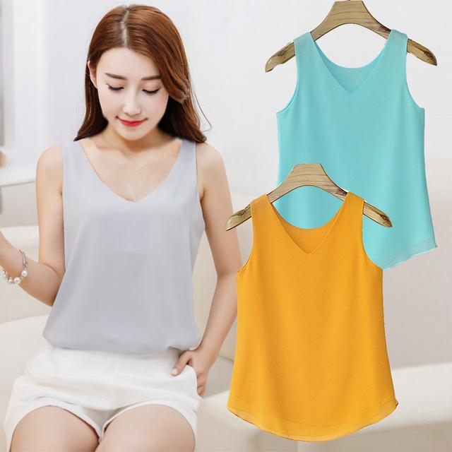 Moda Verão Mulheres Regatas camisol Sexy Decote Em V Chiffon camisa Sem Mangas de Cor Sólida Casuais Blusa Mulher femme Colete TB021