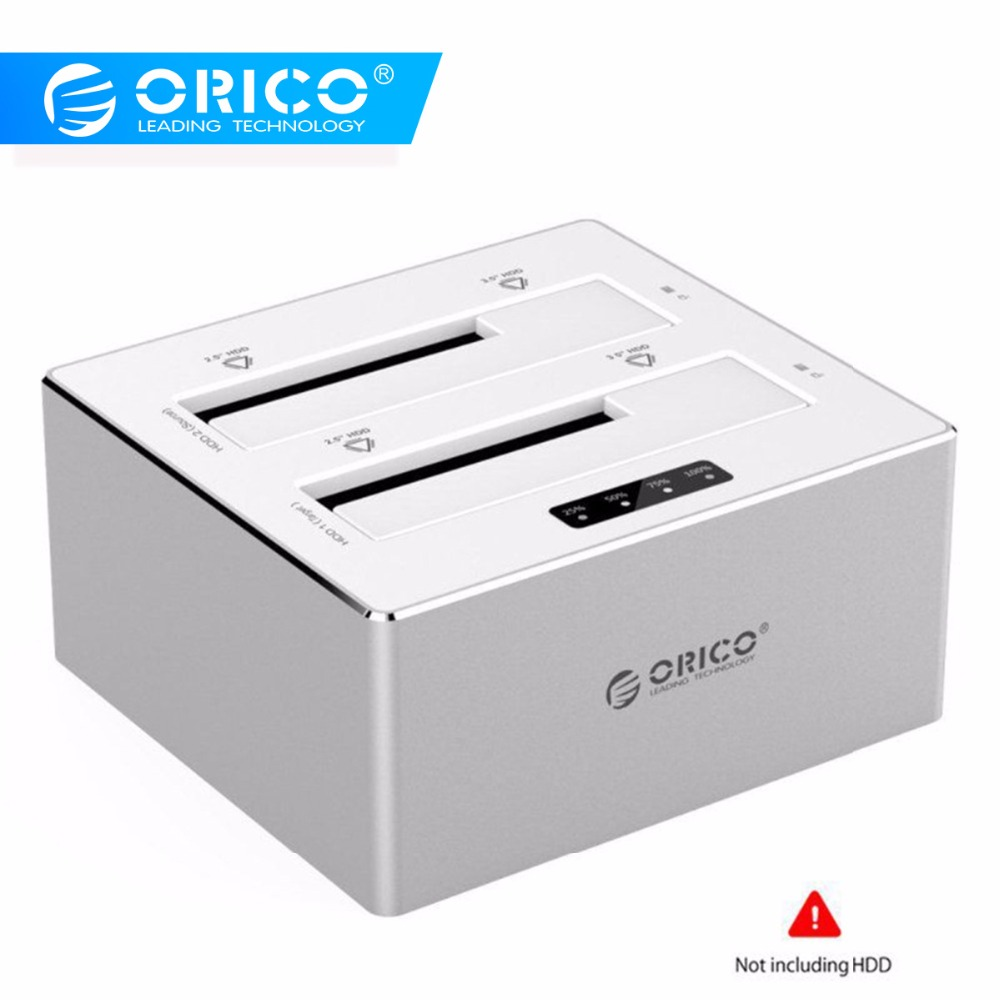 ORICO 2.5/3.5 Inch HDD Case Aluminum External HDD Docking Station Enclosure Case Box USB3.0 To SATA Dual-Bay Offline Clone 16TB