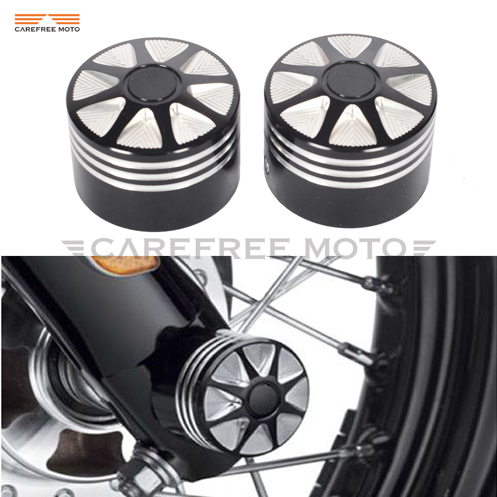 Black Edge Cut Motorcycle Front Axle Nut Cover Bolt Kit Case for Harley Touring Softail FLTR Dyna XL 1200 883