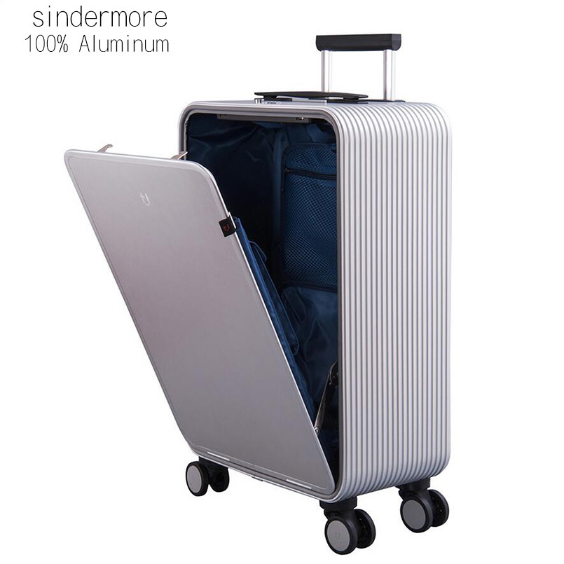 Sindermore 100% Aluminum Hardside Rolling Travel Luggage Suitcase 20 Carry On Luggage Cabin Trolley Suitcase Aluminum Suitcase