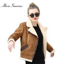 Brązowy Shearling płaszcze z owczej skóry kobiety jesień zima kobiet kawy jagnięce wełniany, krótki Biker Faux skórzane zamszowe kurtki JS3010