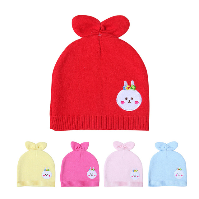 2ebfa11c1d3 Rabbit Ears Baby Hat For Newborn Cartoon Pattern Solid Beanie Cotton  Crochet Girls Hat Autumn Baby Tire Hat Baby Boys Clothing