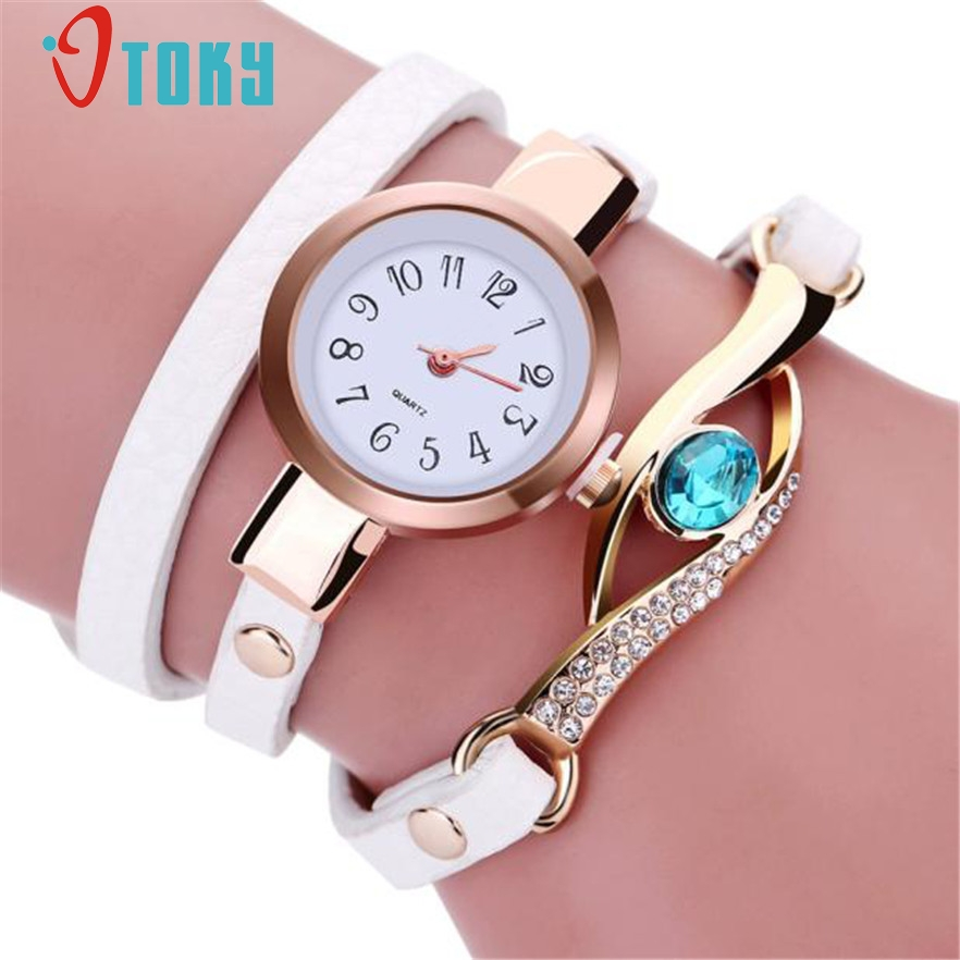 OTOKY watch women Relogio Feminino Fashion Faux Leather Quartz women Watch Multilayer Crystal Bracelet Wristwatch #10 Gift 1pc