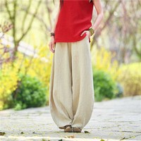 Spring Autumn Linen Cotton Pants Women Wide Leg Bloom Pants Chinese Style Trousers Vintage Joggers Pants Female Clothes