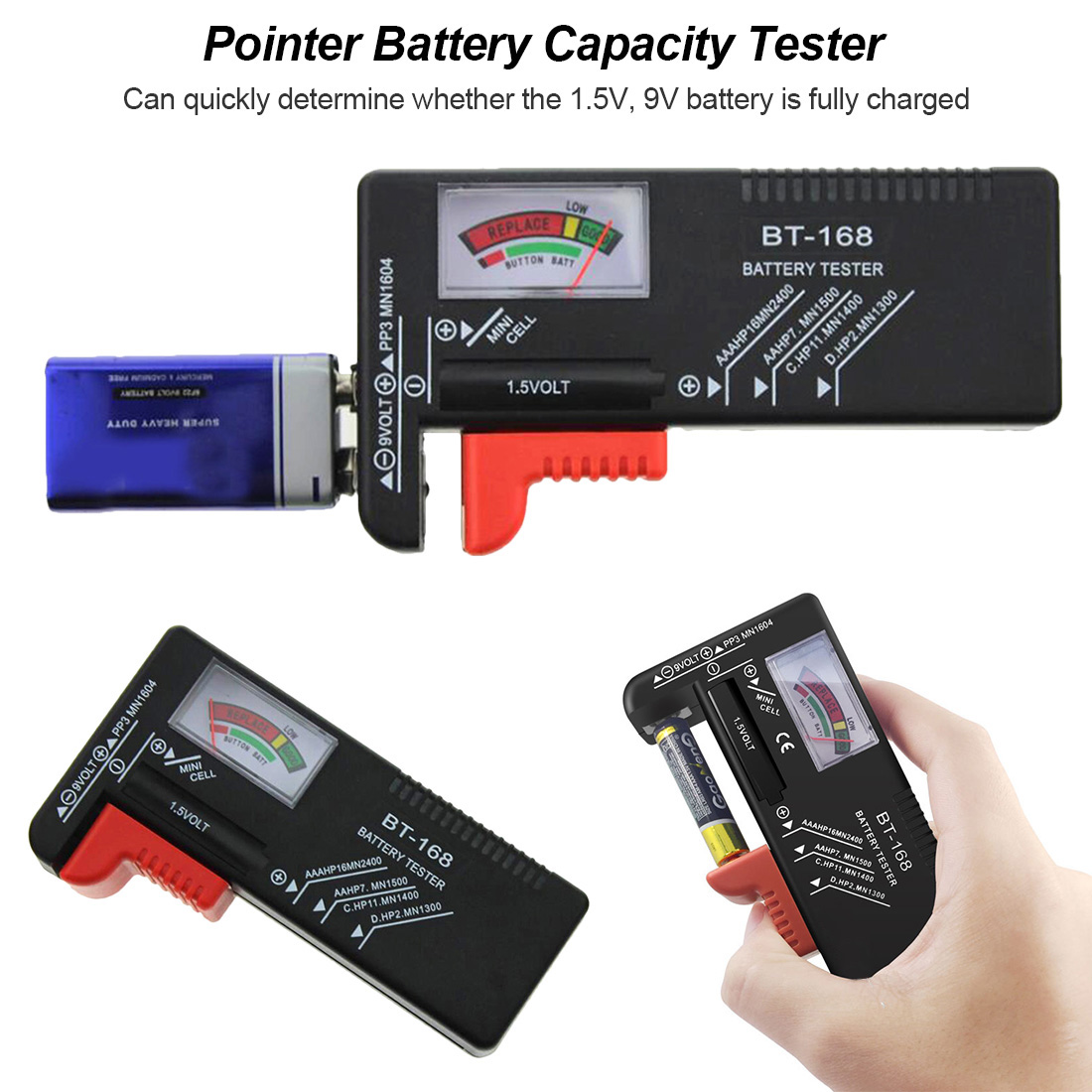 Digital Battery Tester LCD 9V 1.5V AA AAA Button Cell Battery Volt Tester <font><b>BT</b></font>-<font><b>168</b></font> image