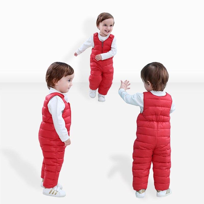Bib Pants For Kids Jumpsuit Pants Down Cotton Clothing Winter Children Down Cotton Bib Pants Thick Warm Vest(China)