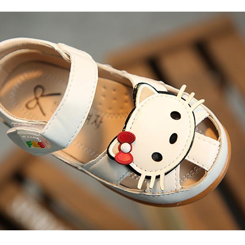 Letnie dziecięce sandały dla dziewczynki Śliczne kotki Skórzane - Obuwie dziecięce - Zdjęcie 5