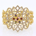 Gorgeous 59mm Women Wrist Bangle 24K Yellow Gold Plated Colorful Zircon Crystal Flower Bracelet Bangle For Women