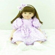 22 inch 55 cm Silicone baby reborn dolls lifelike doll reborn babies toys Pretty purple princess