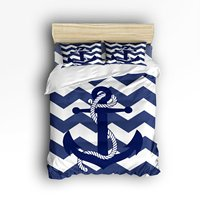 Queen Size Bedding Set Anchor Pattern Print With Navy Blue Chevron Zig Zag Duvet Cover Set Bedspread for Teens/Adults, 4 Piece