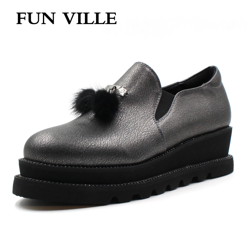 FUN VILLE 2018 New Style Women Flats Spring Summer gray Flat Platform height Casual shoes Round toe Sexy Ladies shoes size 37-41 flat shoes women pu leather women s loafers 2016 spring summer new ladies shoes flats womens mocassin plus size jan6