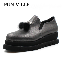 FUN VILLE 2018 New Style Women Flats shoes Platform shoes height Increased Casual shoes for woman Sexy Ladies shoes size 37 41
