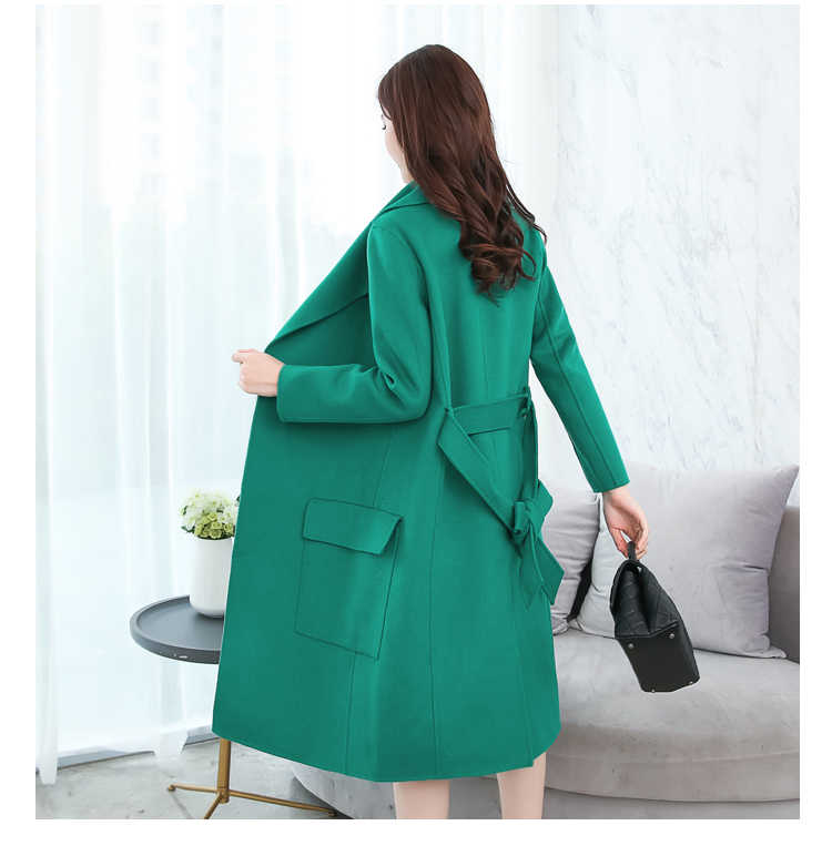 Autumn Winter Long coat Fashion woolen coat Suitable for women lapel Elegant women's coat slim Women's jacket New clothing 750