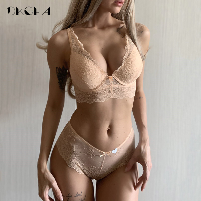 New Super Gather Blue   Bras   Women Lingerie   Sets   Embroidery Lace Sexy Underwear   Set   Cotton Thick Brassiere Deep V Push-up   Bra     Set