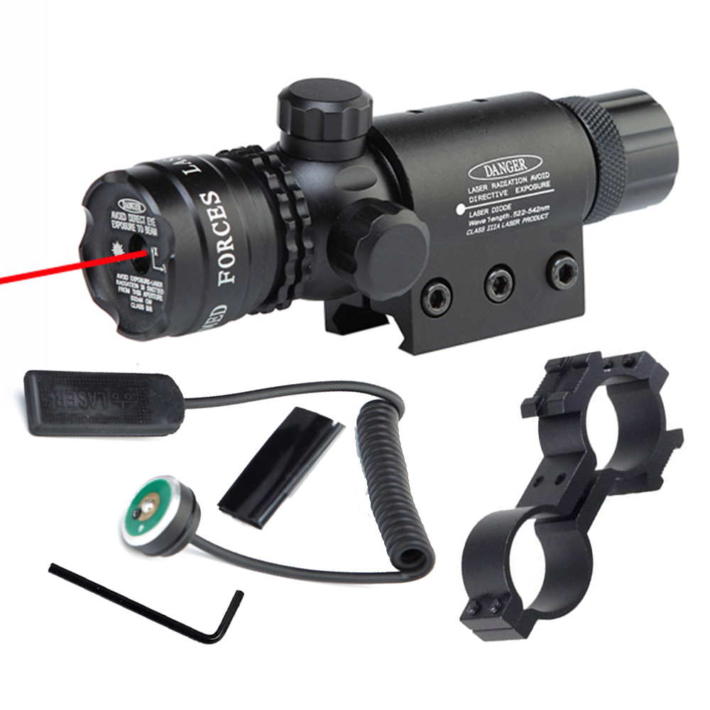 Tactical Laser Designator Red Dot Laser Sight High Brightness Windage Adjustment 20mm Picatinny Rail Mount Tail Line Switch.