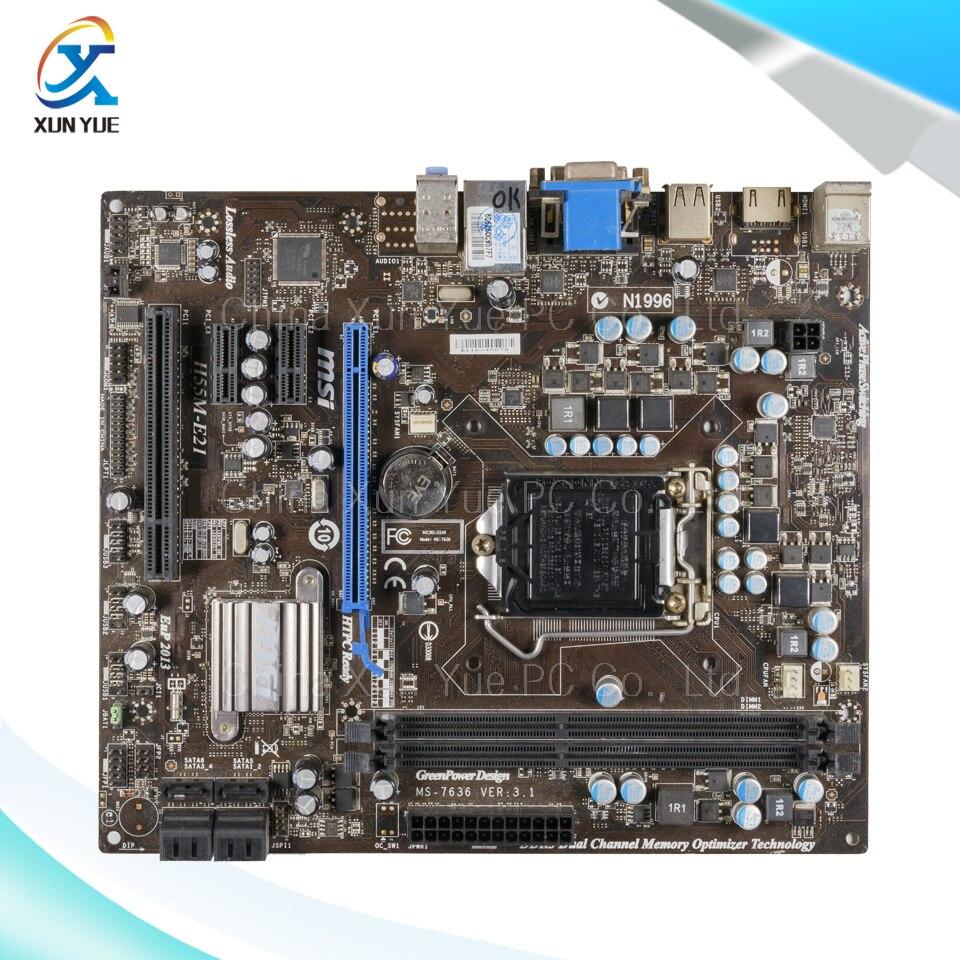 ФОТО MSI H55M-E21 Original Used Desktop Motherboard H55 Socket LGA 1156  i3 i5 i7 DDR3 8G SATA2 USB2 Micro-ATX