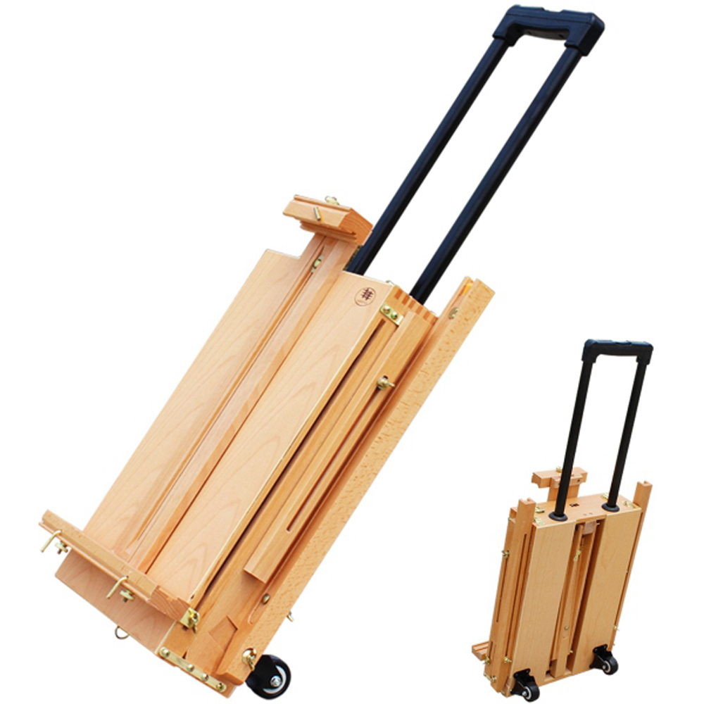 Red Beech Portable Easel For Painting Outdoor Travel Rolling Paint Box Easel With Palette SKU76584240Red Beech Portable Easel For Painting Outdoor Travel Rolling Paint Box Easel With Palette SKU76584240