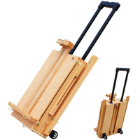 Red Beech Portable Rolling Easel Box Oil Paint Drawing Stand Wood Painting Easel With Palette