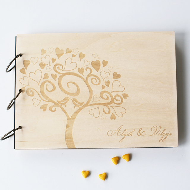 custom wood wedding guest book wedding present christmas gift bride and groom
