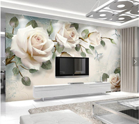 Custom papel de parede 3d, painting rose flower murals for living room bedroom dining room TV backdrop wall decoration wallpaper