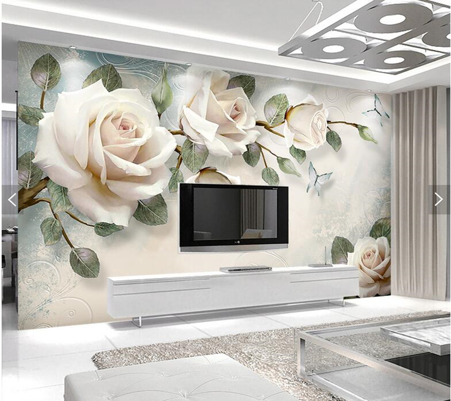 Custom papel de parede 3d, painting rose flower murals for living room bedroom dining room TV backdrop wall decoration wallpaper custom 3d wall murals wallpaper luxury silk diamond home decoration wall art mural painting living room bedroom papel de parede