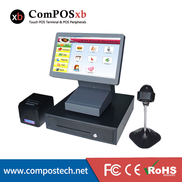 15.6 inch screen Supermarket Cashier Equipment /Hotel POS system/ Restaurant cash register with 1366*768 Resolution
