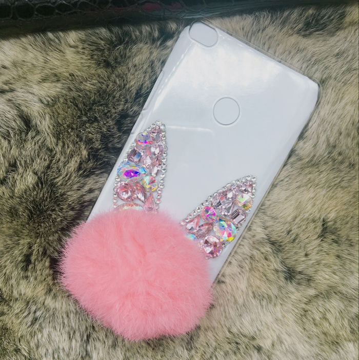 Pink Cute Rabbit ear hair fur Clear Phone Case Cover For iPhone X 8 7 6 6s plus Shiny Diamond Phone Protective Shell Skins Bags