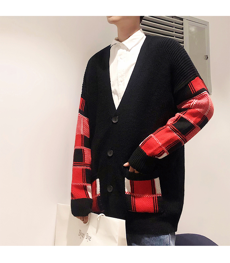 Korean Oversized Sweater Cardigan Men Plaid (14)