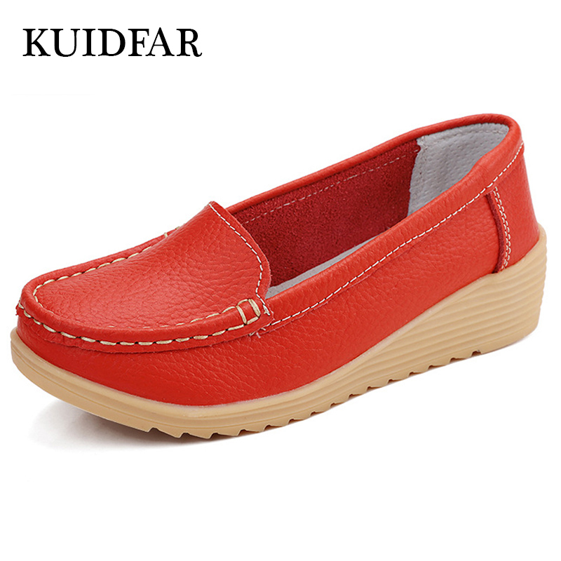 KUIDFAR Shoes Woman fashion Genuine Leather flats Loafers slip on nurse Moccasins footwear woman shoes flats female fashion women shoes fashion oxfords flats genuine leather shoes woman loafers driving shoes moccasins colors slip on footwear